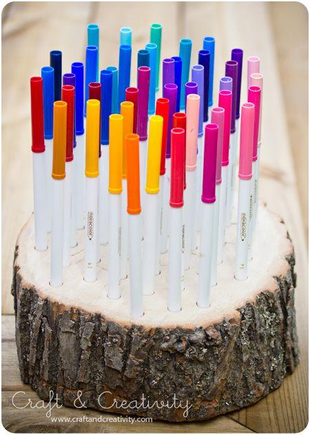 Wood log pencil holder