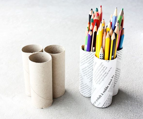 repurposed toilet tubes and turn into pencil holder