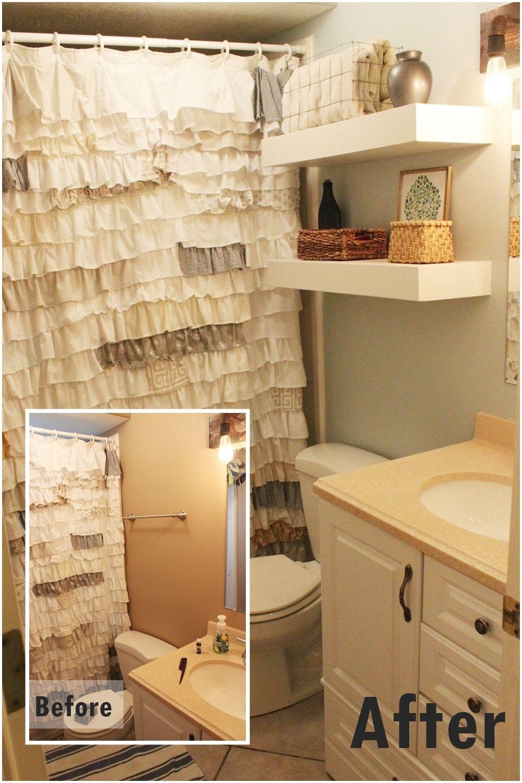 DIY Bathroom Floating Shelves