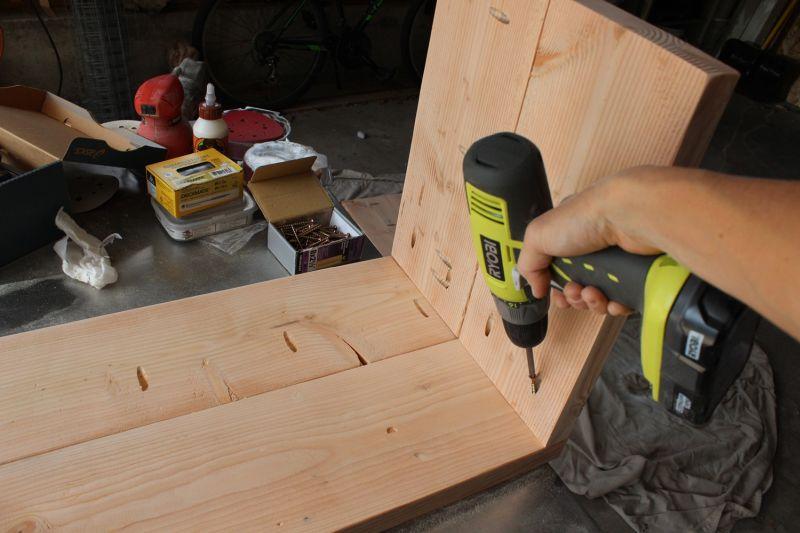 DIY Industrial Bench-install the legs