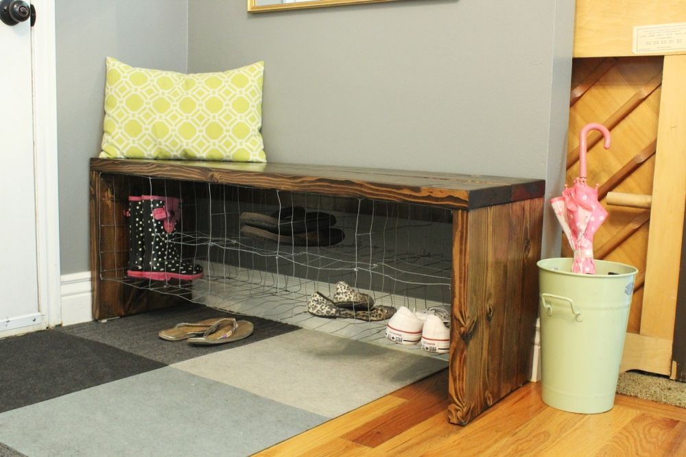 DIY Industrial Bench shoe storage