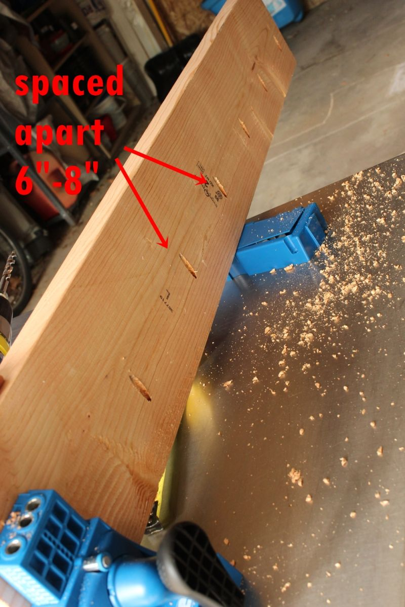 DIY Industrial Bench- spaced holes