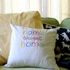 Throw Pillows For Living Room Couch Leather Ideas Diy Embroidered Home Sweet Pillow