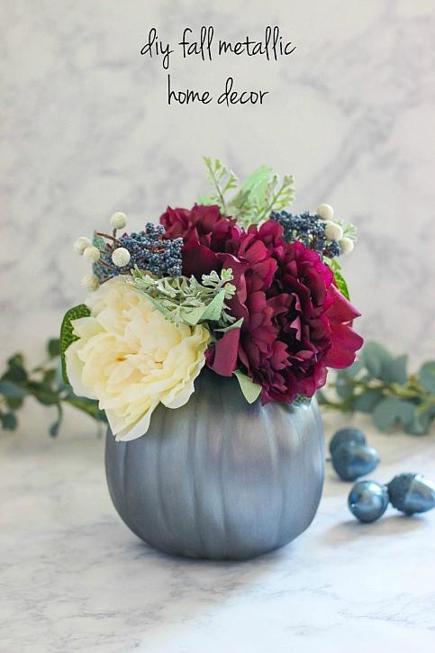 Fall metallic flower vase from pumpkin
