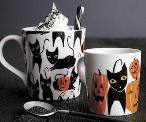 Halloween Cat and Pumpkin Mugs