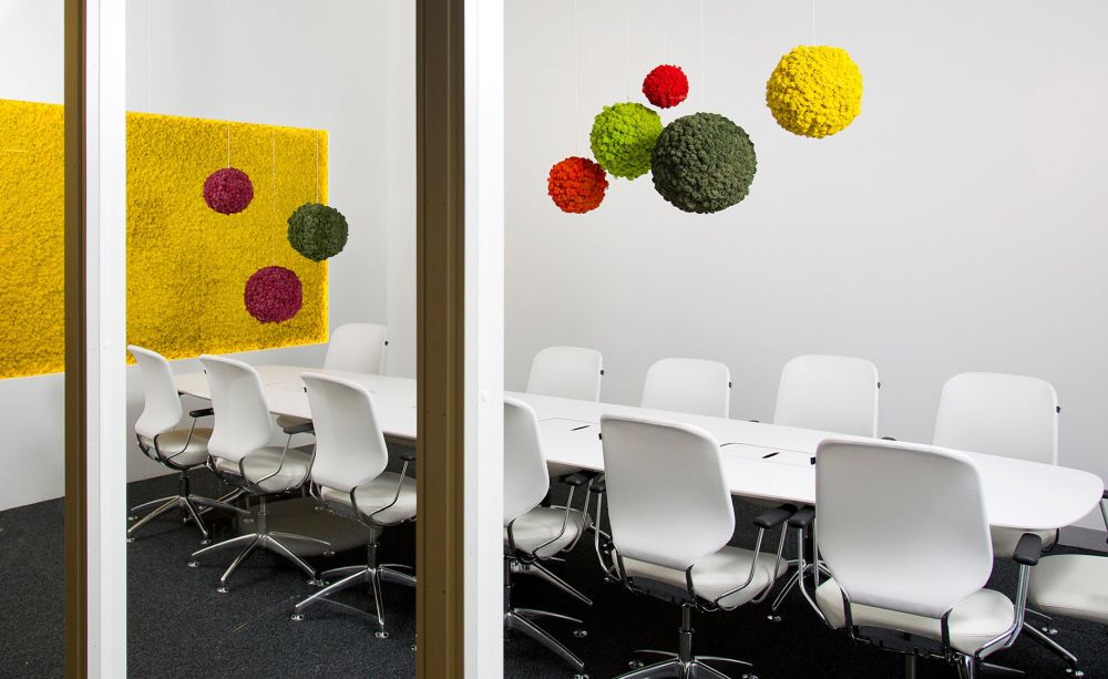 Modern meeting room with bold colors through moss