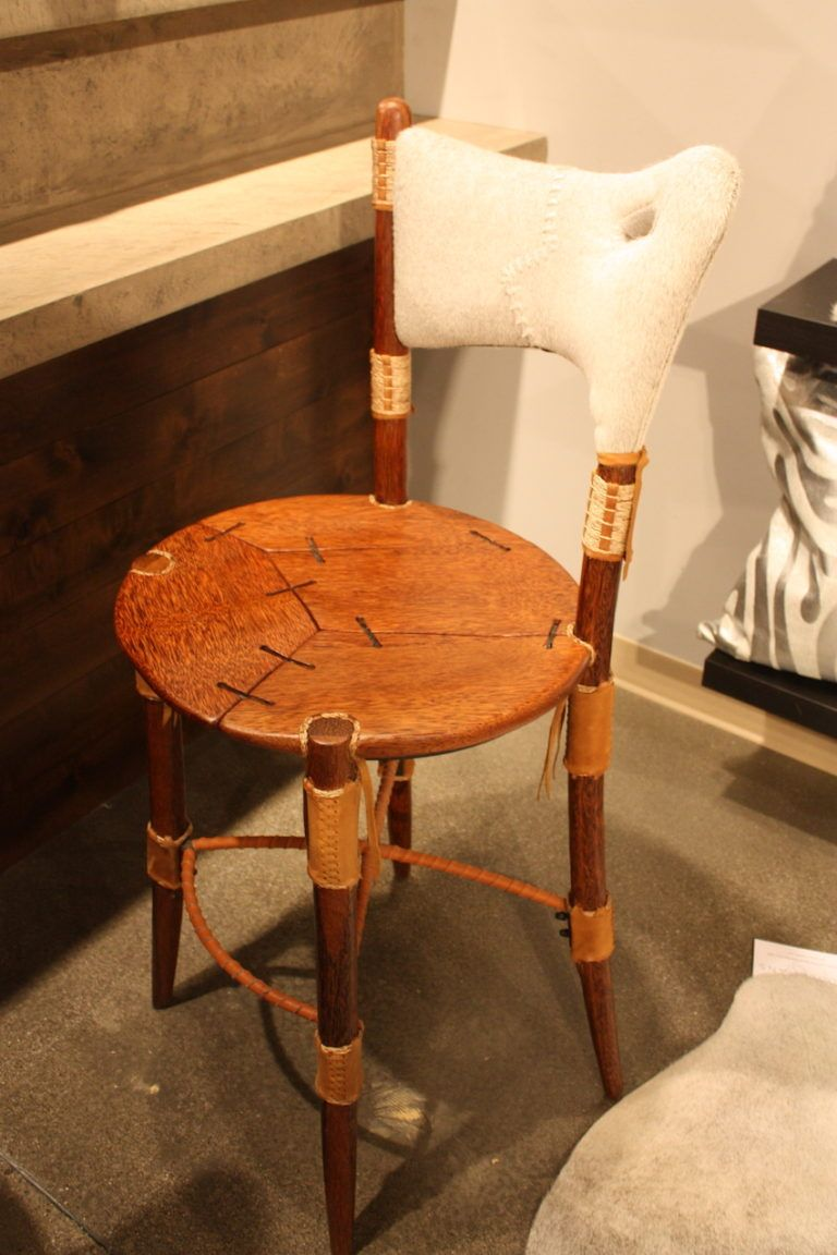 Saddlemans hair on hide bar stool