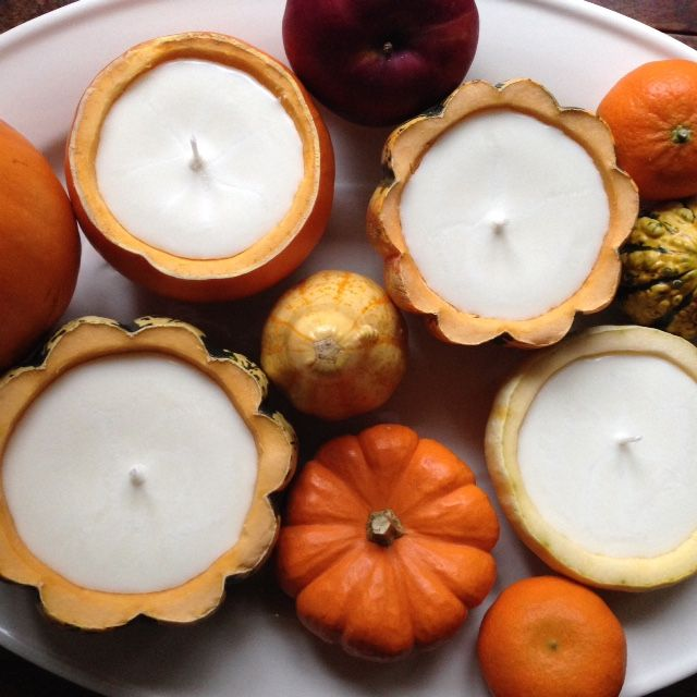 Small candles from pumpkins to decorate the table