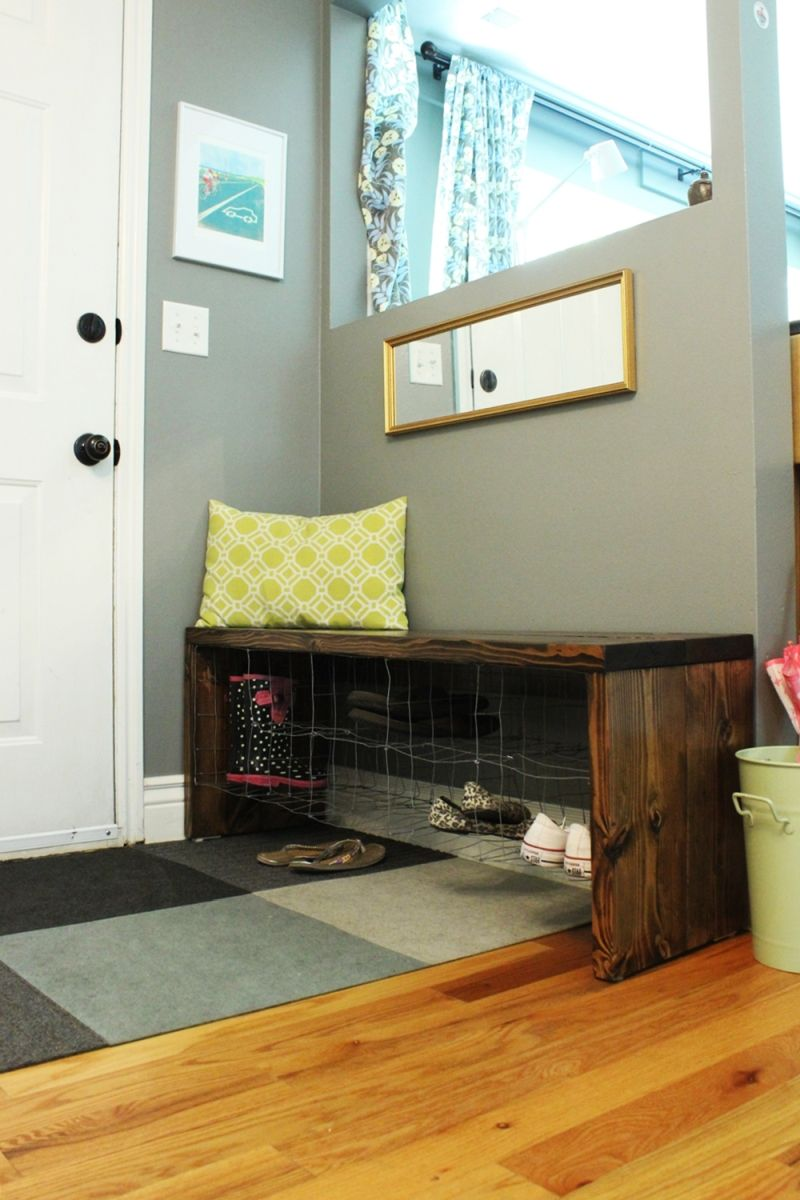 Wood entryway bench shoe storage