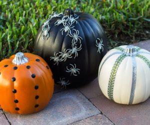 glitter spider pumpkin
