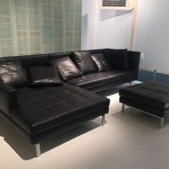 L Shaped Black Leather Sofa Set Sectional Singapore Masculine Furniture For A Man Cave Decor And Closer Look At Both Ottoman