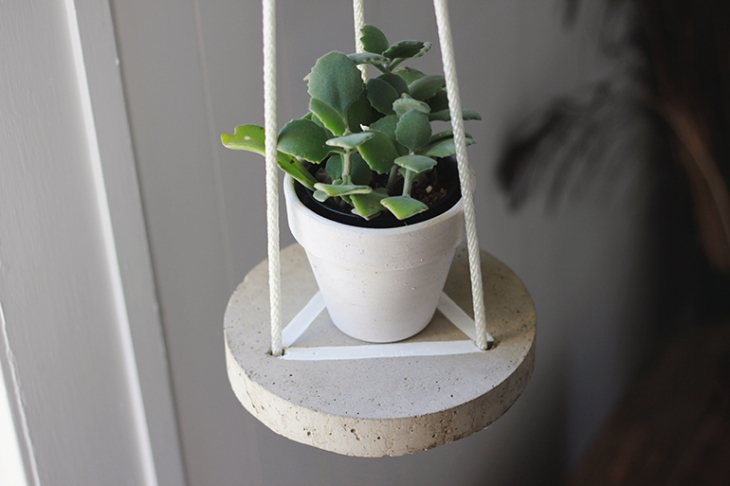 Concrete hanging shelf