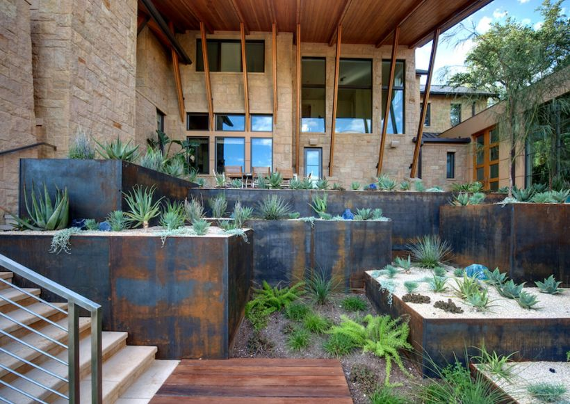 Front house Weathering steel planters