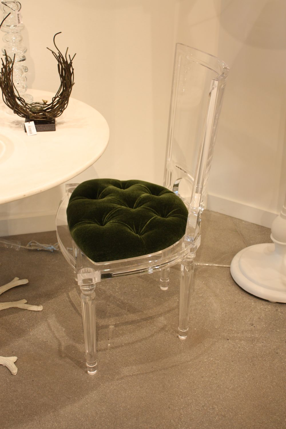 Green seat for Marilyn Acrylic Side Chair-Black