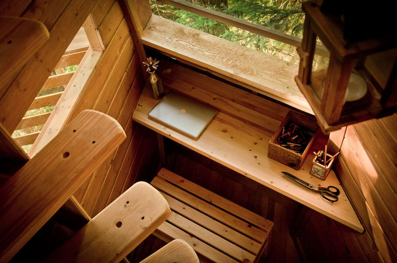 Hemloft treehouse in the woods desk