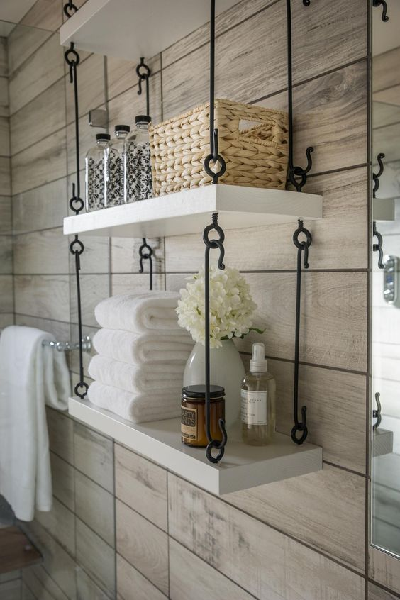 Industrial Hanging Shelves in Bathroom