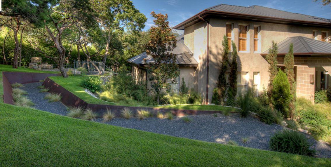Modern Backyard design with corten steel