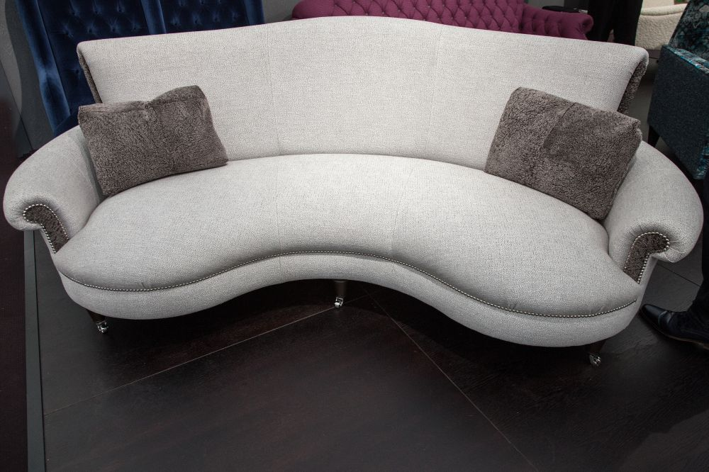 Modern Curved Lines Grey Couch
