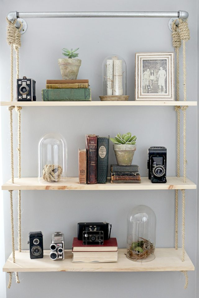 Pipes and Rop Hanging Shelves