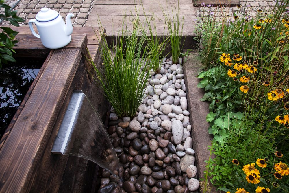 River rocks and water feature