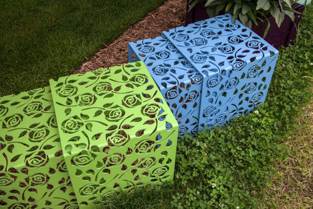 Small green and blue metallic stools