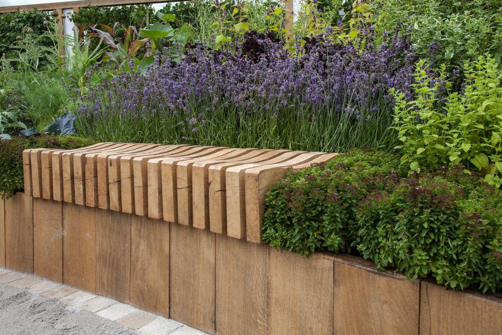 Wood slice backyard bench