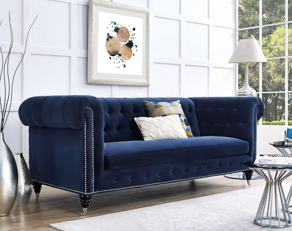 Living Room With Blue Velvet Chesterfield Sofa Novocom Top