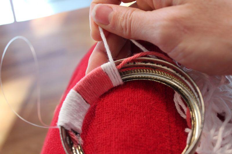 DIY Mason Jar Lid Wreaths - wrapping ColorB