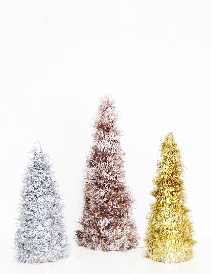 DIY tinsel trees