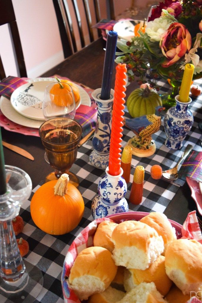 Ecletic colorful thanksgiving table