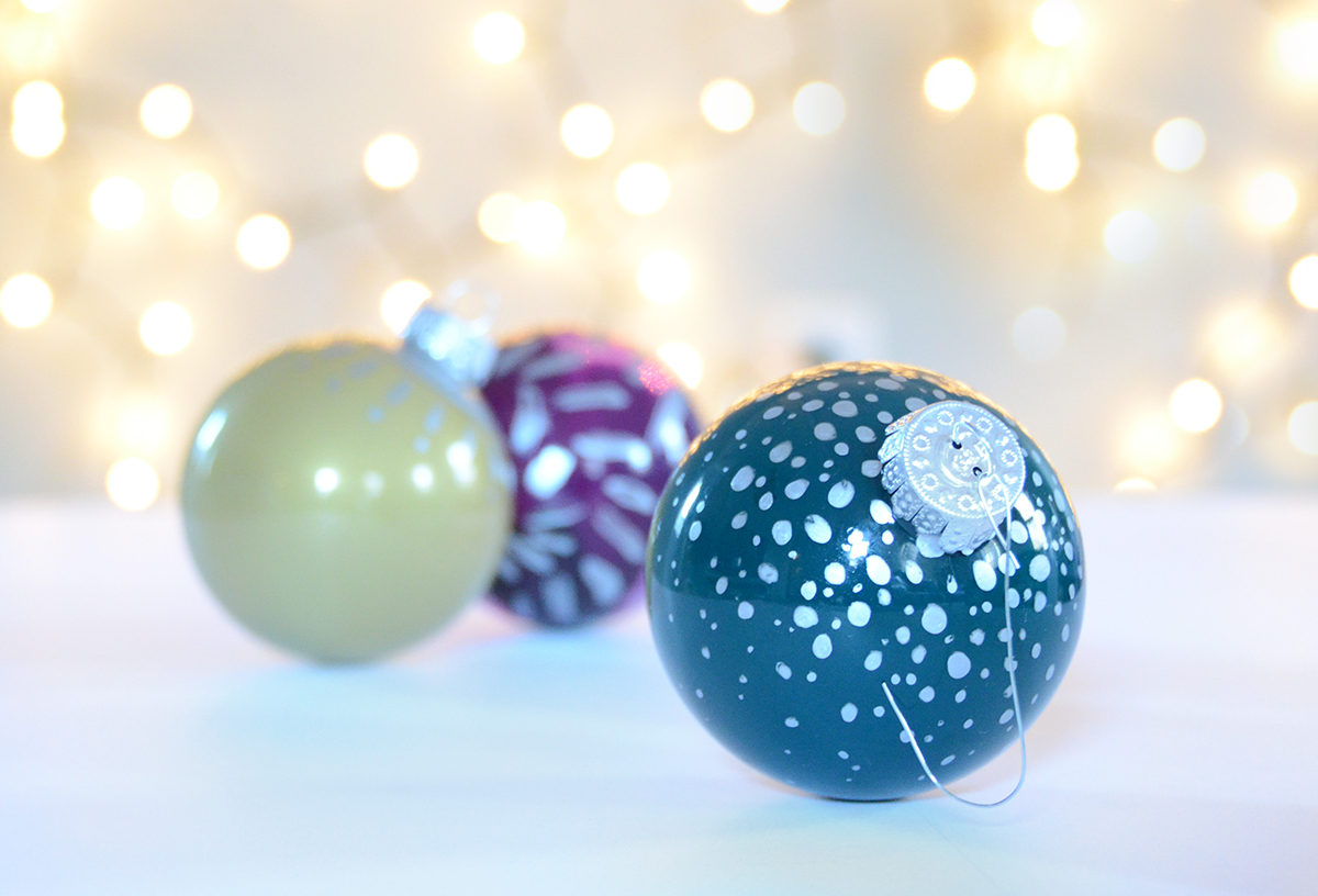 Glass painted Christmas Tree Ornaments