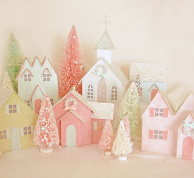 Rose quartz Christmas village