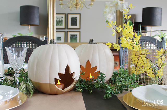Table decor with pumpkins