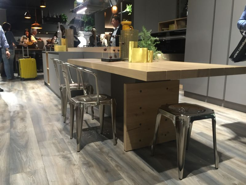 Wood countertop bar height table