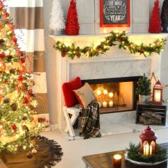 Pictures Of Living Room Decorated For Christmas Dark Hardwood Floors 50 Mantles Some Serious Decorating Inspiration Mini Mantel Trees