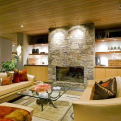 Contemporary Living Rooms With Fireplaces Chaise Room Stacked Stone Fireplace Designs And The Decors Around Them Modern Design