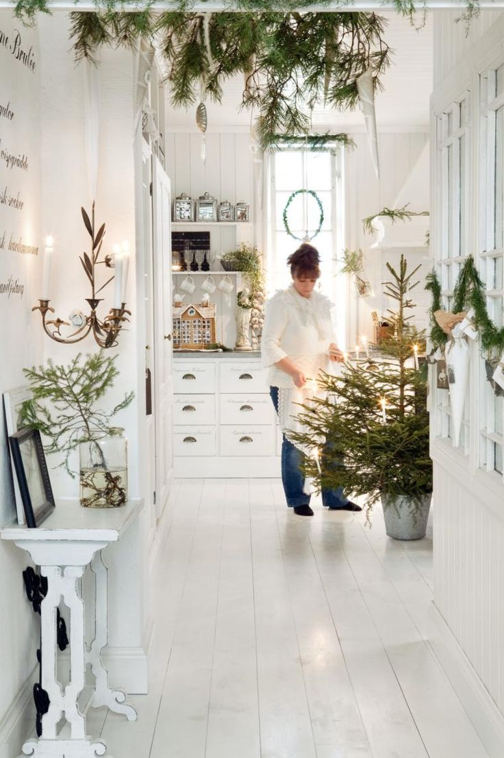 White Scandinavian Room Decorated For christmas