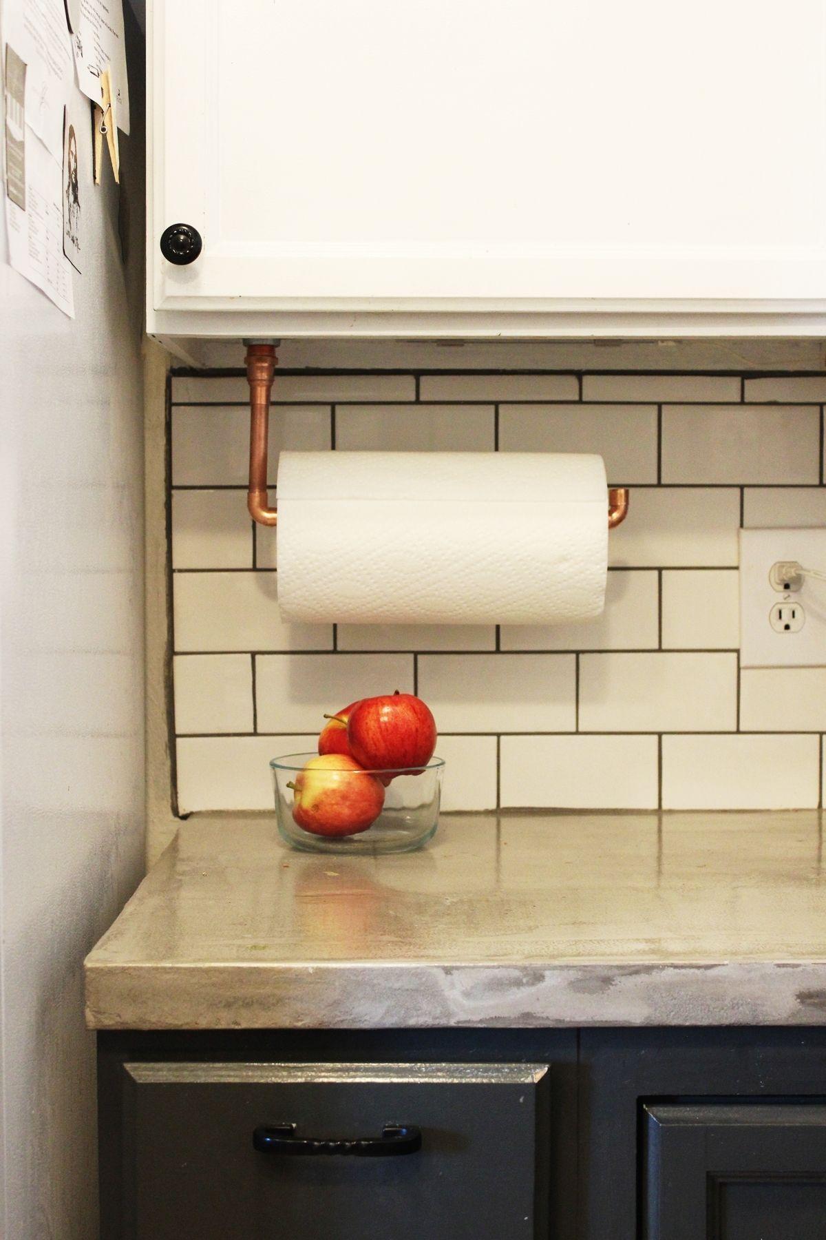 kitchen paper towel holder sink white diy under cabinet hanging copper view in gallery