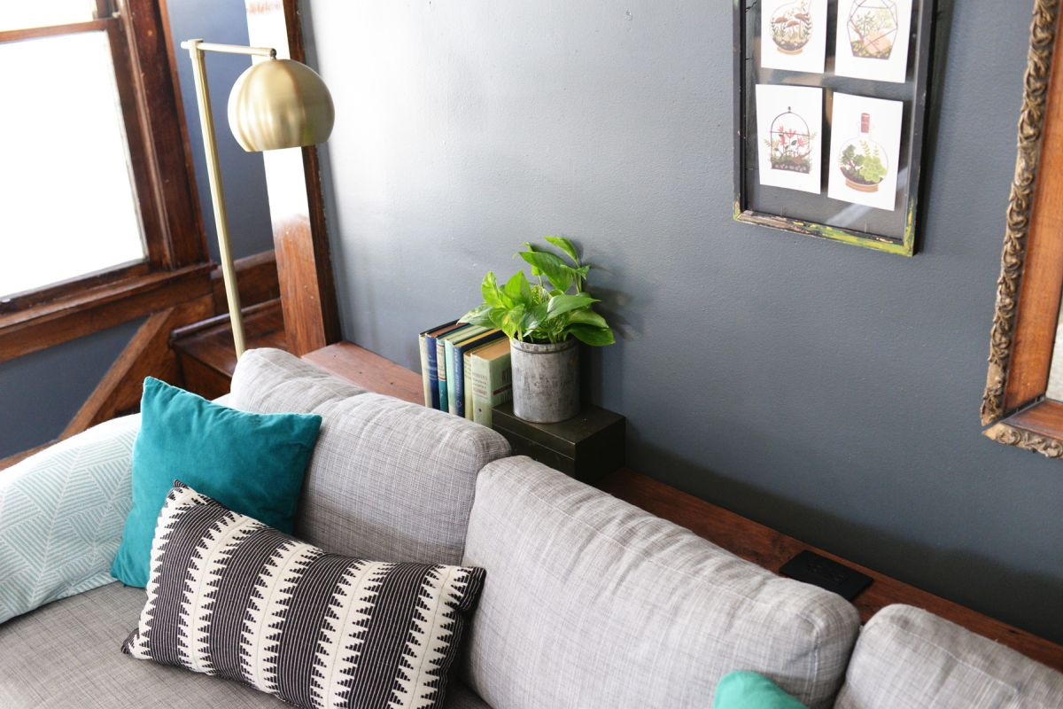 what to put behind a sofa ethan allen table diy narrow with outlet