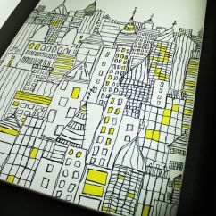 Diy Canvas Art For Living Room Two Color Painting Sharpie Art: Cityscape Sketch On