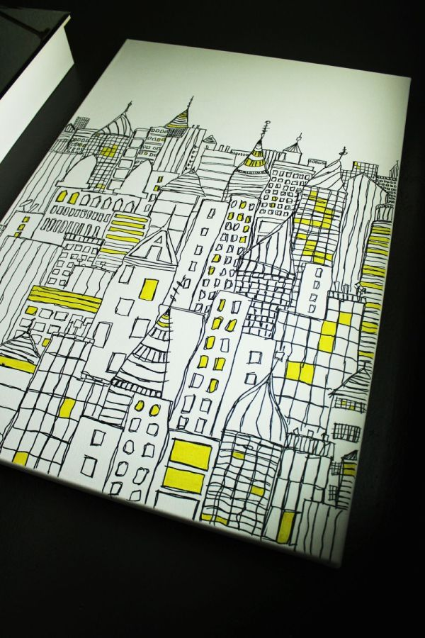 Diy Sharpie Art Cityscape Sketch Canvas