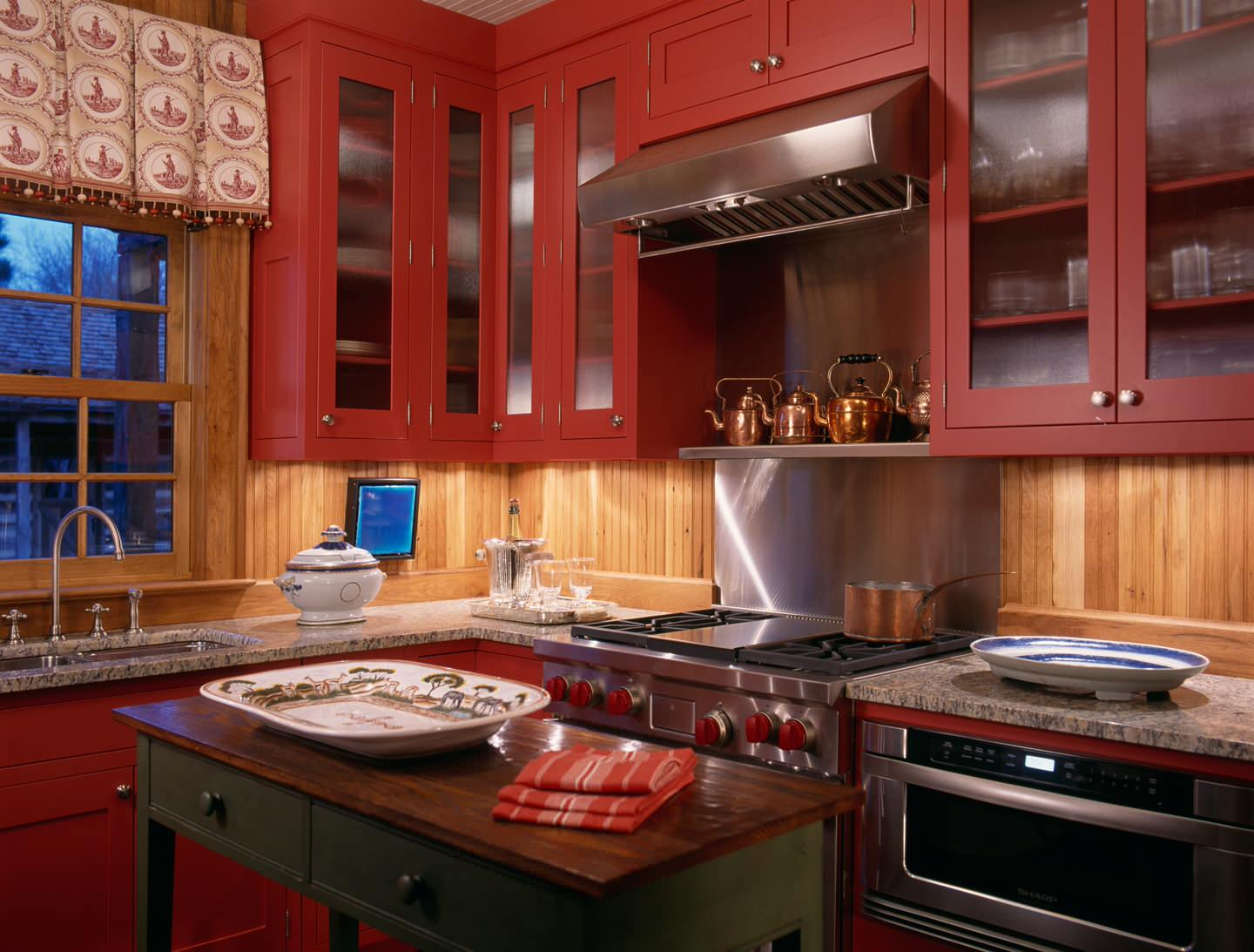 red kitchen cabinets open metal shelving 100 beautiful kitchens to inspire your makeover