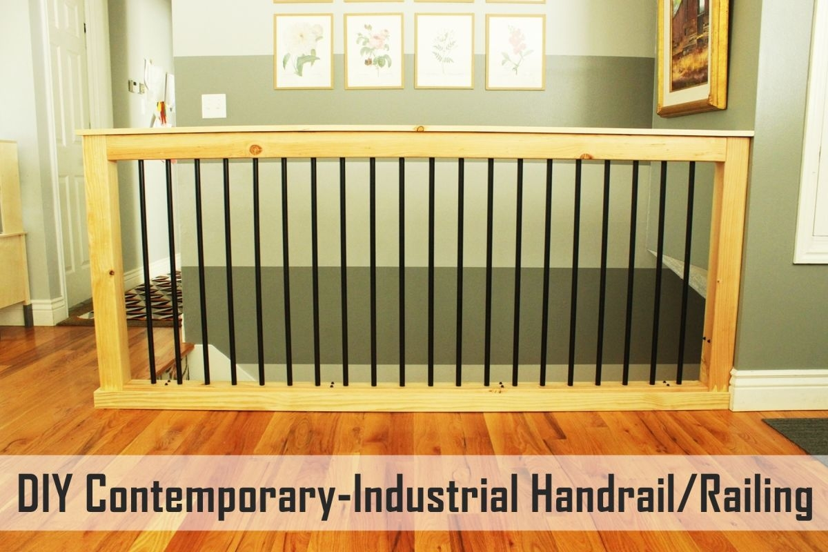 Diy Stair Handrail With Industrial Pipes And Wood   Diy Handrails For Interior Stairs   Modern   Rounded   Led Str*P Light   Short   Look