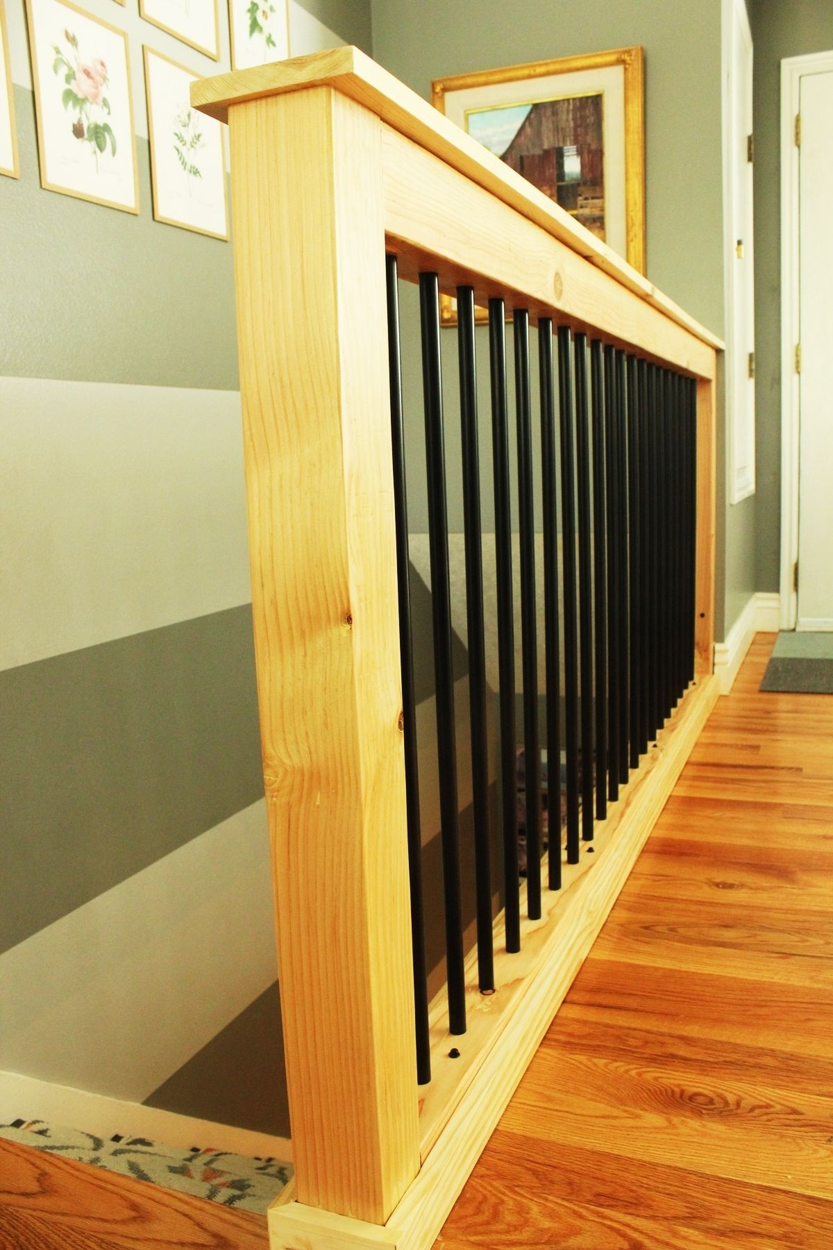 Diy Stair Handrail With Industrial Pipes And Wood | Diy Galvanized Pipe Handrail | Entrance | Abs Pipe | Curved Steel Pipe | Repurposed | Simple Pipe