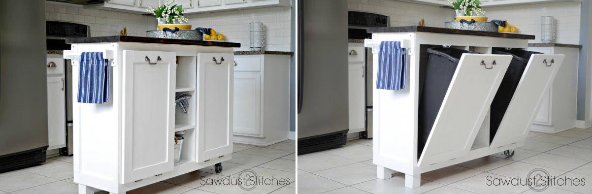 kitchen island with trash can cabinets light wood modern ideas for good waste management
