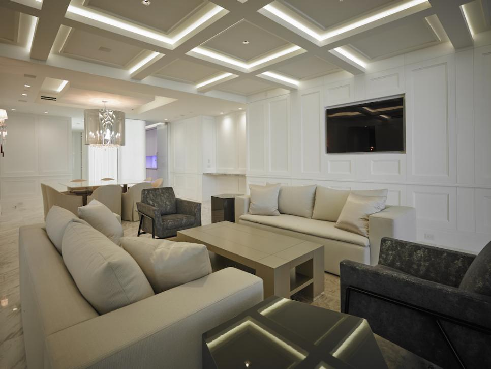 recessed lighting layout living room chocolate brown furniture ideas 12 ways to incorporate a coffered ceiling into your home