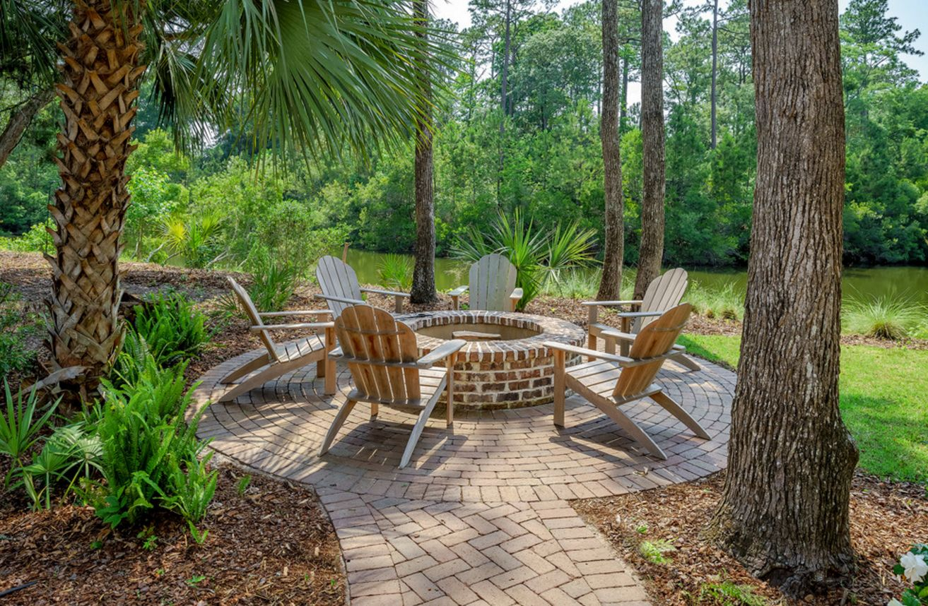 adirondack chairs fire pit chair design living room 13 brick pits and the homes gardens that surround