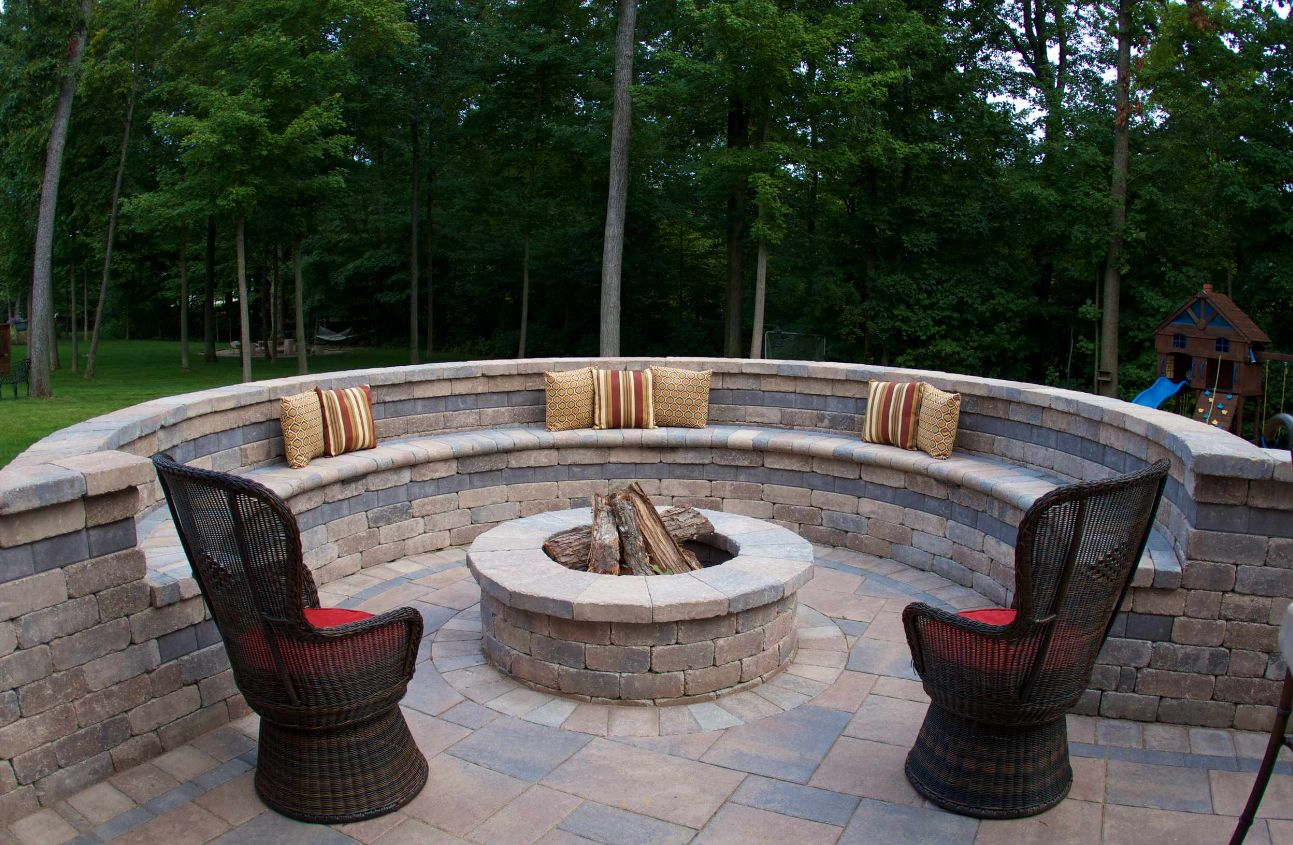 24 brick fire pits and the homes and