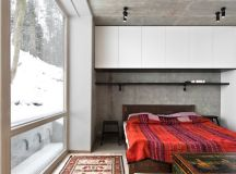 The bedrooms are quite interesting because they feature exposed concrete walls and ceilings