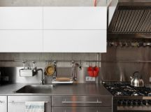 The stainless steel counters and cabinets are both hygienic and visually imposing